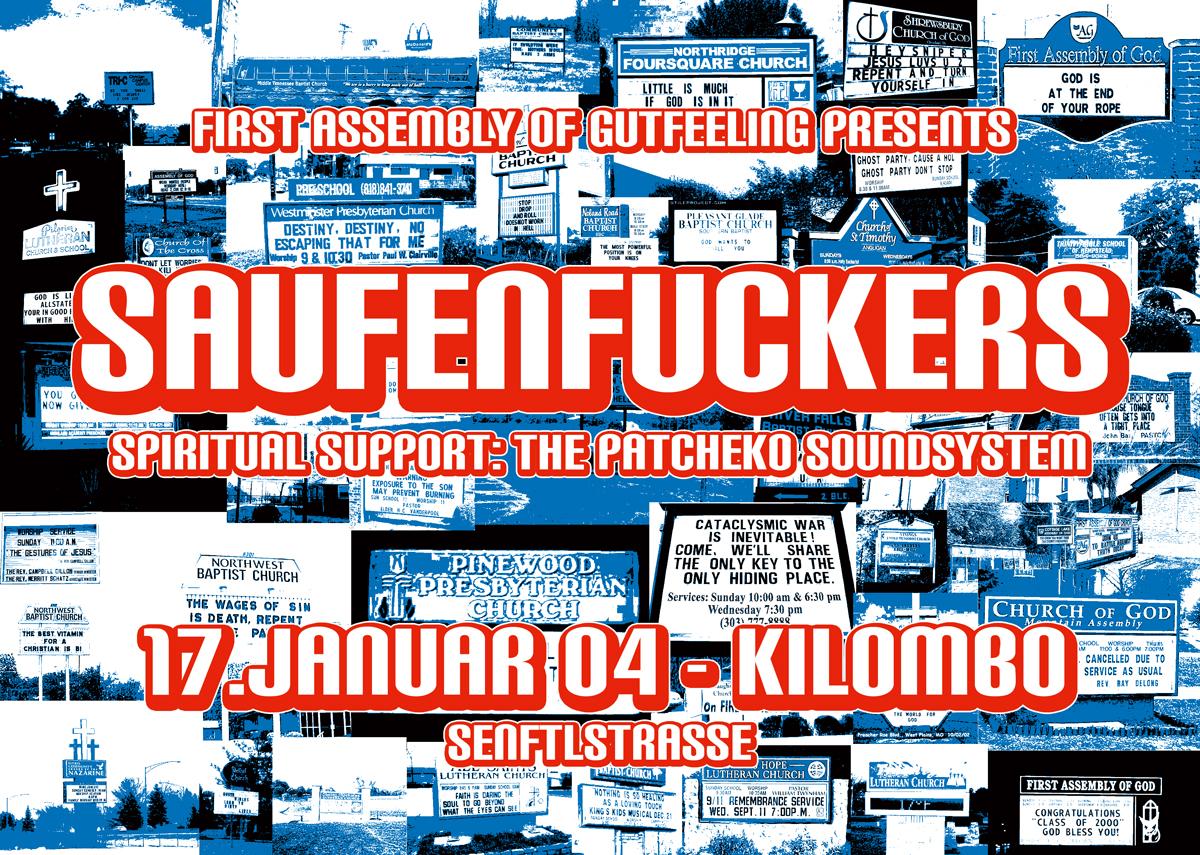 Flyer: Saufenfuckers, Kilombo, Januar 2004